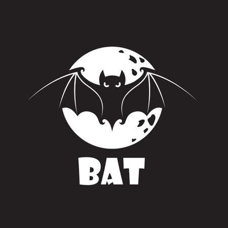 illustration of halloween bat and moon design isolated on black background