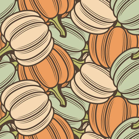 seamless pattern with vegetable pumpkins