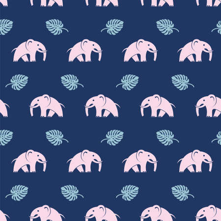 seamless pattern with elephants and palm leaves