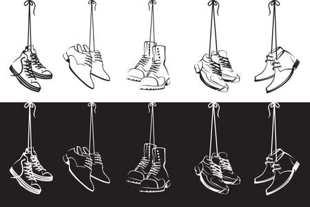 collection of shoes hanging on shoelaces isolated on white and black background