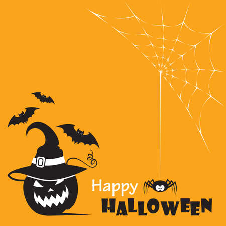 background with halloween pumpkin, spider and flying bats isolated on orange background