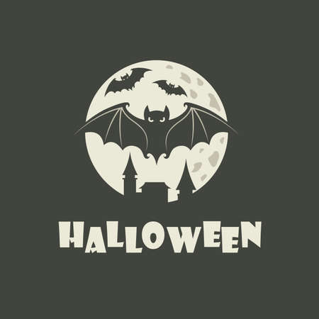 illustration of halloween bats and moon isolated on black background