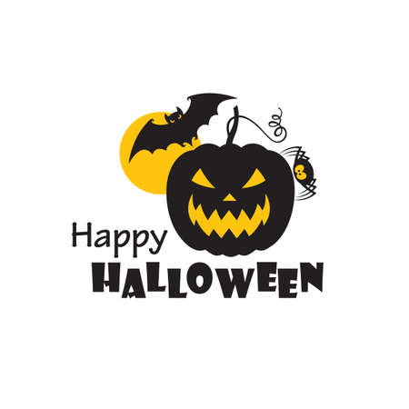 emblem of halloween pumpkin and flying bat isolated on white background