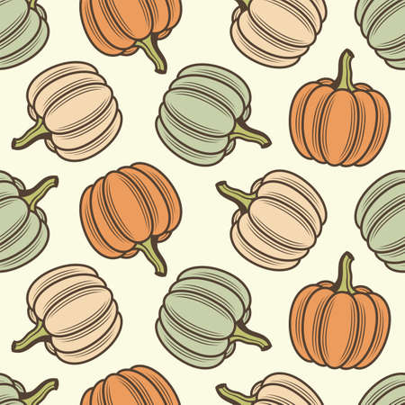 seamless pattern of vegetable pumpkins isolated on green background 矢量图像