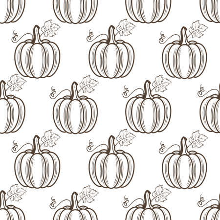 seamless pattern of vegetable pumpkins with leaves isolated on white background