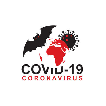 abstract coronavirus warning sign with bat and earth isolated on white background