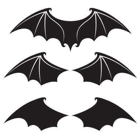 collection of black bat wings isolated on white background
