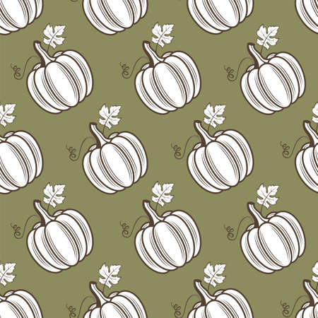 seamless pattern of vegetable pumpkins with leaves isolated on green background
