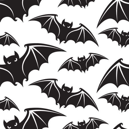 seamless pattern with halloween bats isolated on white background