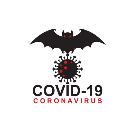 abstract coronavirus warning sign with bat isolated on white background
