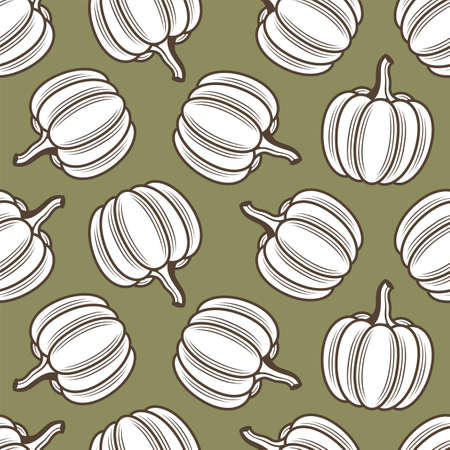 seamless pattern with vegetable pumpkins isolated on green background