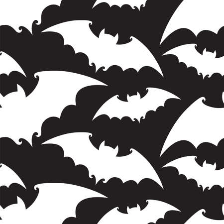 seamless pattern with halloween bats isolated on black background