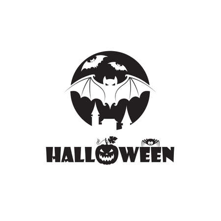 illustration of halloween bats and moon isolated on white background