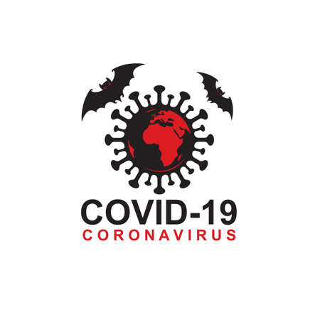 abstract coronavirus warning sign with bats and earth isolated on white background 矢量图像