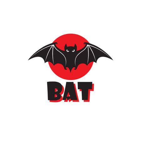emblem of halloween flying bat isolated on white background 矢量图像