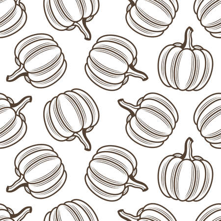 seamless pattern with vegetable pumpkins isolated on white background 矢量图像
