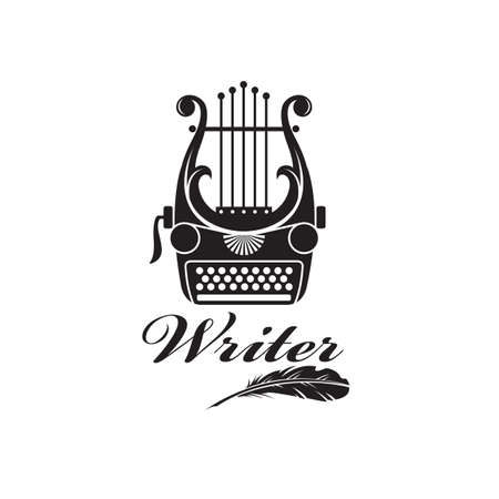writer badge with typewriter and lyre isolated on white background 矢量图像
