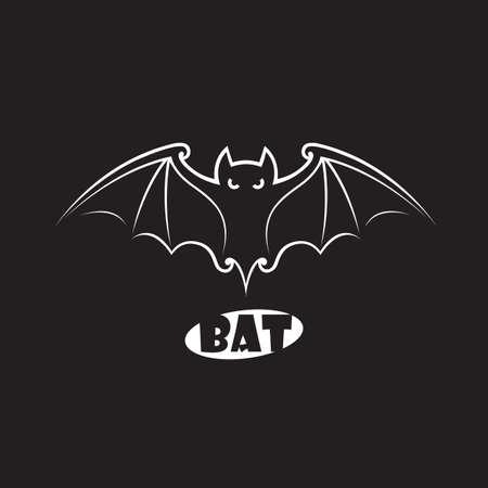 illustration of halloween flying bat isolated on black background