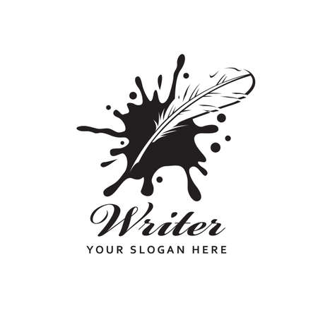 writer icon with feather pen against background of ink blot isolated on white background