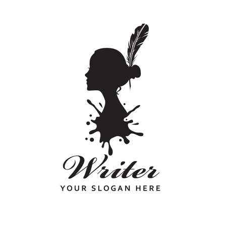woman writer icon with feather pen against background of ink blot isolated on white background 矢量图像