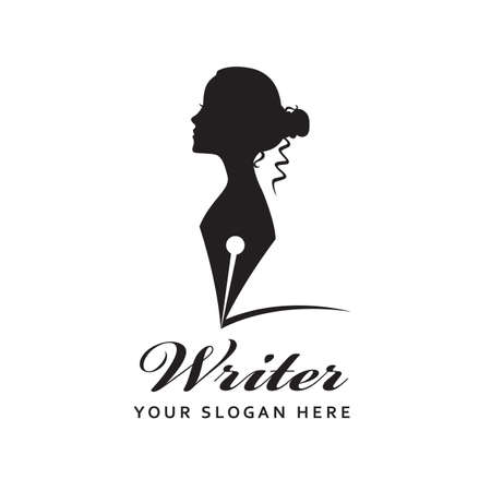woman writer icon with feather pen isolated on white background