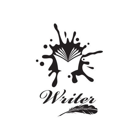 writer icon with book against background of ink blot isolated on white background