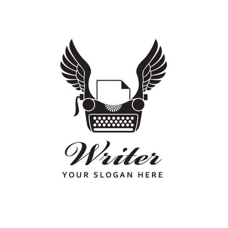 writer badge with typewriter and wings isolated on white background
