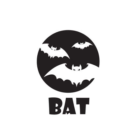 emblem of halloween flying bats and moon isolated on white background