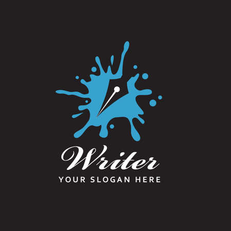writer icon with feather pen against background of ink blot isolated on black background