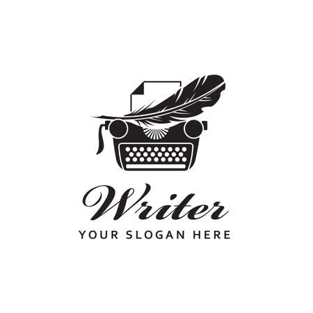 writer badge with typewriter and pen feather isolated on white background