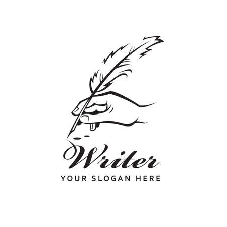 writer icon with feather pen in hand and ink drops isolated on white background
