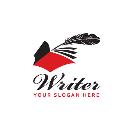 writer icon with book and feather pen isolated on white background