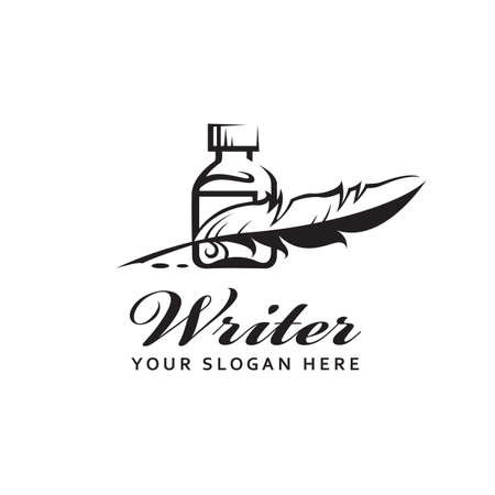 writer icon with feather pen, inkwell and ink drops isolated on white background