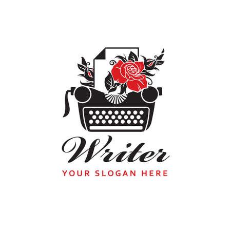 writer badge with typewriter and rose isolated on white background