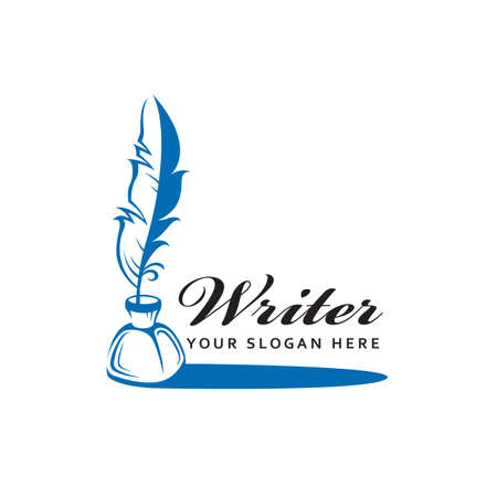writer icon with feather pen and inkwell isolated on white background