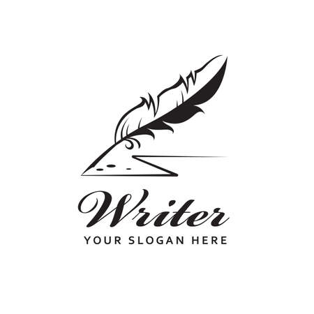 writer icon with feather pen isolated on white background