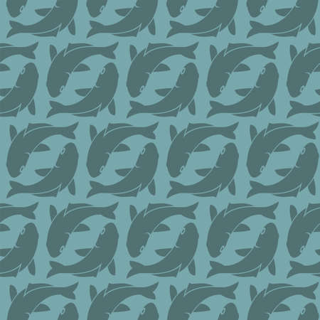 seamless pattern with fish on blue background