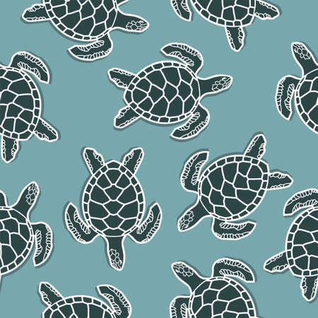 seamless pattern with sea turtles on blue background