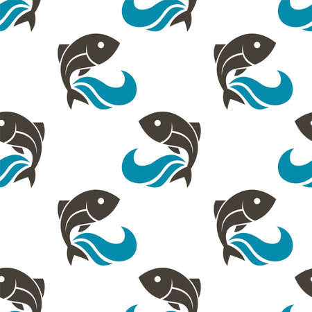seamless pattern with fish and water waves on white background