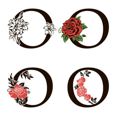 collection of letters O with flowers bouquet isolated on white background