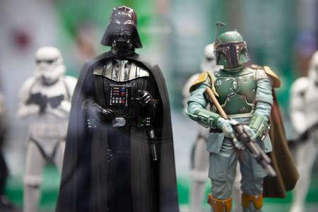 SAN DIEGO, CALIFORNIA - JULY 11, 2011: Kotobukiya unveiled a new lineup of Star Wars ArtFX+ Statues (Darth Vader, Boba Fett, Stormtroopers)