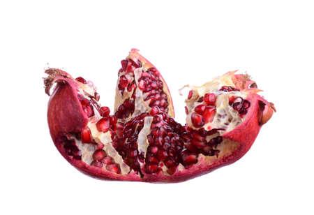fresh segmented pomegranate isolated on white background Stock Photo