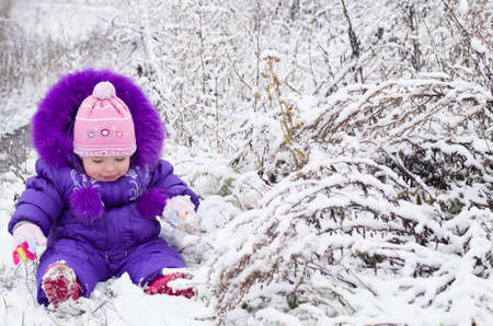 Portrait of happy little girl in snowy landscape Stock Photo - 16800578
