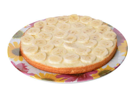 part of cake with banana isolated on white background