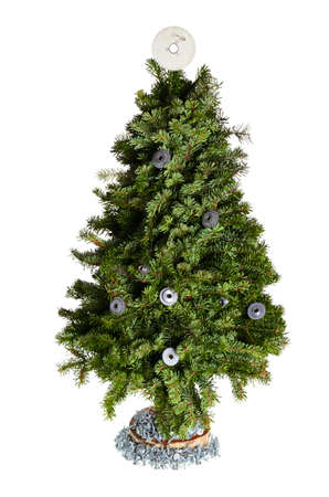 Christmas tree with gear wheel decoration isolated on white background Stock Photo - 17156912