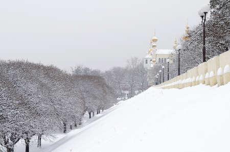 kharkov: Snowy landscape with orthodox monastery in Kharkov Ukraine Stock Photo