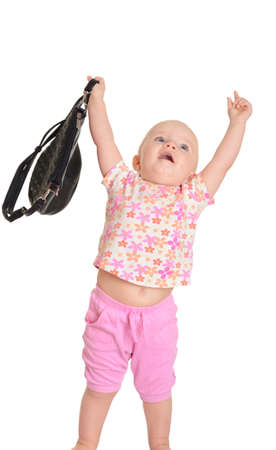 nurseling: Baby with a bag on white background Stock Photo