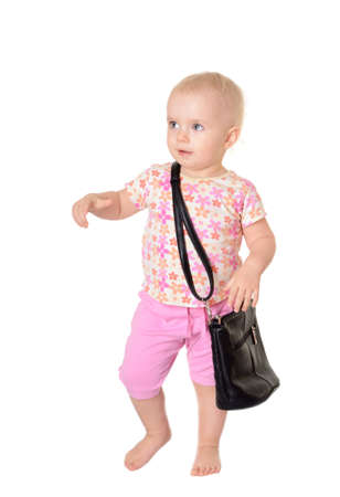 Baby with a bag on white background Stock Photo - 17701902