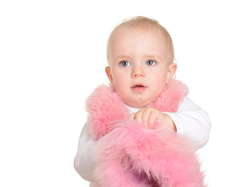 cute Baby girl dressed in pink fur on white background Stock Photo - 17991805