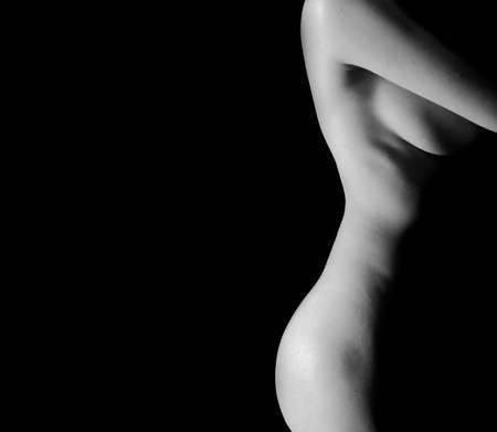 Classic Black and White Art of sexy Womans body  Stock Photo